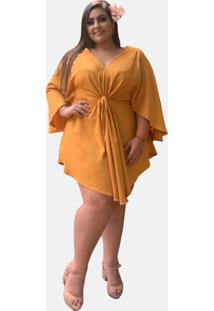Vestido Kimono Curto Social Verão Tnm Collection Plus Size Casual Festa Mostarda