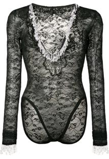 Christopher Kane Body De Renda Esferas Peroladas - Preto