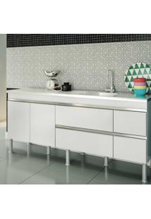 Balcao De Cozinha 100% Mdf Prisma Para Pia 194 Cm - Branco - Mgm