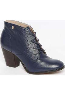 Ankle Boot Em Couro Com Recortes- Azul Marinho- Saltloucos E Santos