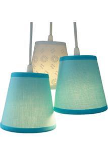 Luminária Cacho Azul E Renda Crie Casa Azul E Branco