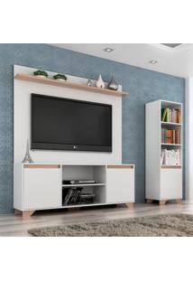 Conjunto De Rack Com Painel Para Tv Até 50 Polegadas E Estante Friso Iii Branco E Siena