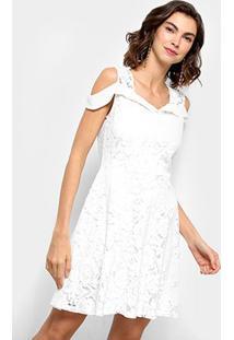 a0bc3555d6 ... Vestido Curto Lily Fashion Rendado Open Shoulder - Feminino-Branco