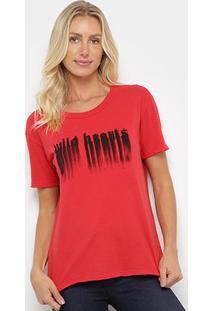 Camiseta Ellus Wild Hecrts Básica Feminina - Feminino-Vermelho Claro