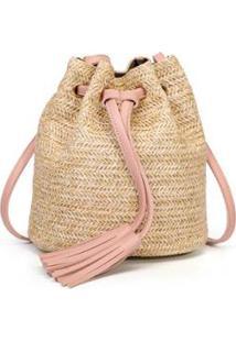 Bolsa Mini Mochila Malha Entrelaçada Tipo Palha Crua Não Natural - Feminino-Bege+Rosa