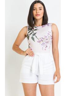 Body Pks Regata Estampado Floral Lilás - Kanui
