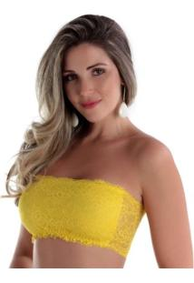 Bustiê Em Renda Sem Bojo - Feminino-Amarelo