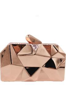 Bolsa Clutch Liage Geometrica Alça Removível Acrílico Metal Rose Bronze