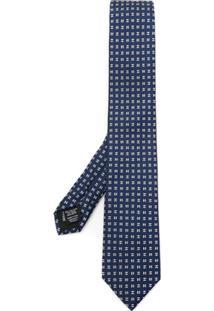 Boss Hugo Boss Gravata De Seda Estampada - 480 Open Blue