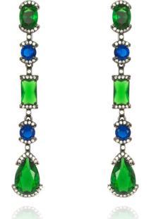 Brinco Levitha Semijoias Com Cristais Verde Esmeralda E Azul Topázio - Banho Negro