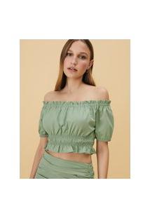 Amaro Feminino Blusa Cropped Com Mangas Bufantes E Elásticos Na Cintura, Verde Claro
