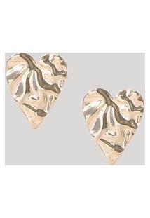 Brinco Feminino Texturizado Coração Orgânico Dourado