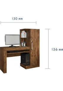 Mesa Para Computador Com Armário 1 Porta 1 Gaveta Office Valdemóveis Ipê