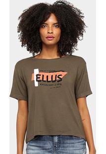 Blusa Ellus Jersey Glitter Feminina - Feminino-Verde Militar