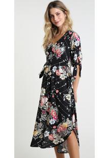 Vestido Feminino Midi Estampado Floral Manga Curta Preto