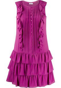 Liu Jo Vestido Com Amarração E Babados - Rosa