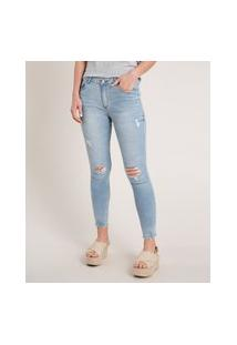 Calça Jeans Feminina Skinny Cintura Média Destroyed Azul Claro