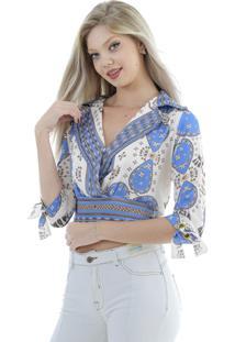 Camisa Gatabakana De Cetim Azul