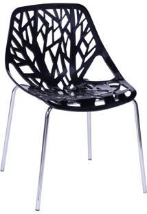 Cadeira De Jantar Folha- Preta & Prateada- 80X54X43Cor Design