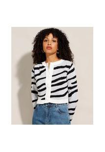 Cardigan Cropped De Tricô Estampado Animal Print Zebra Decote Redondo Off White