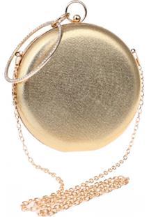 Bolsa Clutch Liage Redonda Alça Removível Argola Punho Metalizada Metal Strass Cristal Pedra Dourada - Kanui