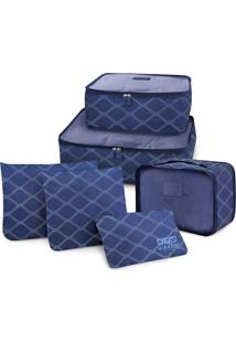 Kit Organizador De Malas De 6 Peças Estampado Jacki Design Azul Escuro
