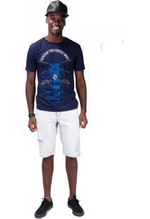 Bermuda Jeans Delavê Marmorizado Rasgos