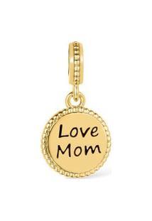 Pingente Life Love Mom Banho Ouro Amarelo