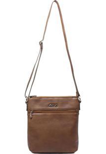 Bolsa Em Couro Transversal Recuo Fashion Bag Telha