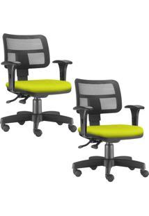 Kit 02 Cadeiras Giratã³Rias Lyam Decor Zip Suede Amarelo - Amarelo - Dafiti