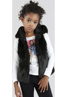 Colete Infantil Em Pelo Com Capuz Preto