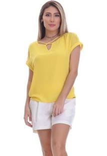 Blusa Clara Arruda Decote Cruzado Feminina - Feminino-Amarelo