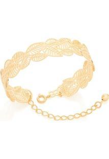 Bracelete Aro Aberto Folhas Vazadas Rommanel - Feminino-Dourado