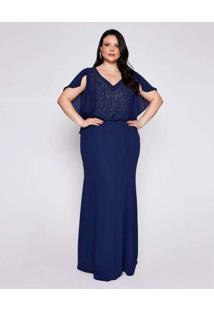 Vestido Almaria Plus Size Pianeta Longo Renda Azul