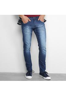 Calça Jeans Reta Zamany Masculina - Masculino-Azul