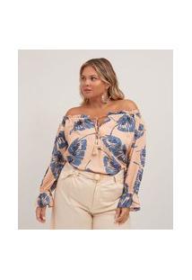 Blusa Bata Estampa Folhas Com Amarração E Tassel Curve & Plus Size | Ashua Curve E Plus Size | Rosa | G