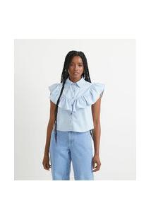 Camisa Jeans Sem Estampa E Com Babado Frontal | Blue Steel | Azul | M