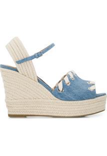 Sergio Rossi Sandália Jeans Com Plataforma - Azul