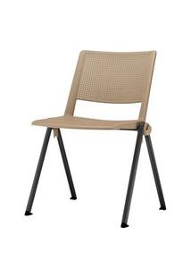 Cadeira Up Assento Bege Base Fixa Preta - 54316 Bege
