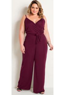 Macacão Pantalona Com Alças Bordô Plus Size