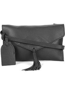 Bolsa Couro Shoestock Crossbody Envelope Feminina - Feminino-Preto