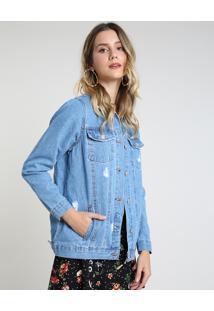 Jaqueta Jeans Feminina Bbb Longa Destroyed Com Bolsos Azul Médio