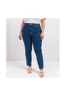 Calca Mom Jeans Stonada Azul