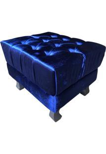 Puff Nay Estofados Banqueta Retrô Luis Xv Acetinado Azul