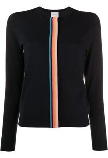 Paul Smith Cardigan Com Listras Contrastantes - Azul