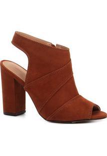 Sandália Shoestock Meia Pata Nobuck Feminina - Feminino-Caramelo