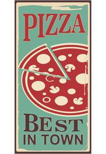 "Placa Decorativa ""Pizza""- Preta & Vermelha- 50X25Cm"
