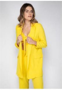Blazer Alongado Lança Perfume Feminina - Feminino-Amarelo