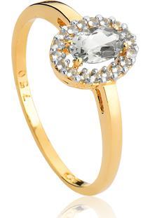 Anel De Ouro 18K Oval De Cristal Incolor Com Topázio Branco Envolta-Coleção Classima