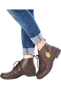 Bota Dafiti Shoes Bordado Abacaxi Marrom